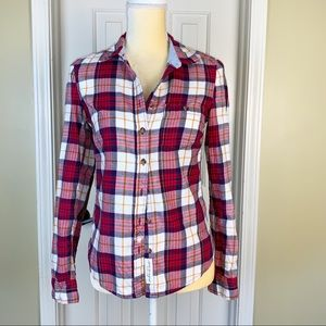 L.O.G.G. Plaid Button Up Elbow Patch Top Size 4